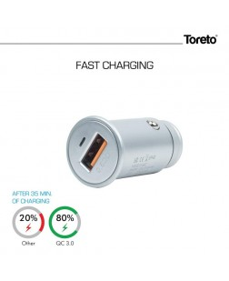 Toreto TOR-407 Qualcomm Quick Charge 3.0 USB Smart Car Charger,Metal Finish,3.4A Output