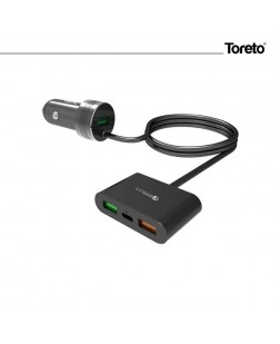Toreto TOR-410 Qualcomm Quick Charger 3.0 Triple USB Port Smart Car Charger for Front & Back,7.2A