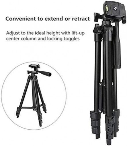 Tripod 3120 Portable and Foldable Camera-Tripod with Mobile Clip Holder Bracket, 4 Section Adjustable Travel Tripod