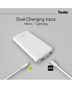 Toreto TOR-31 Ultra Slim 10000 MAH Power Bank with LED Light display