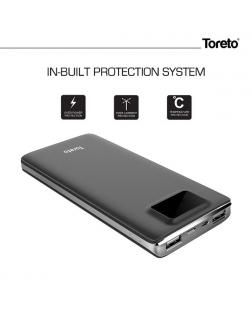 Toreto TOR-34 12000 mAh Li-Polymer Power Bank with Dual Input and Led Display
