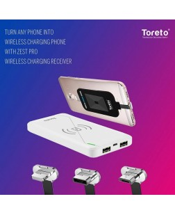 Toreto TOR-ZEST PRO Wireless Charger Power Bank, Portable 10000 mAh Battery with QI Charging Chip Compatible with All Smart Phones