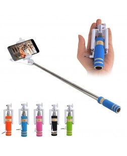 Mini Selfie Sticks With Aux Cable & Click Button (Color May Vary)