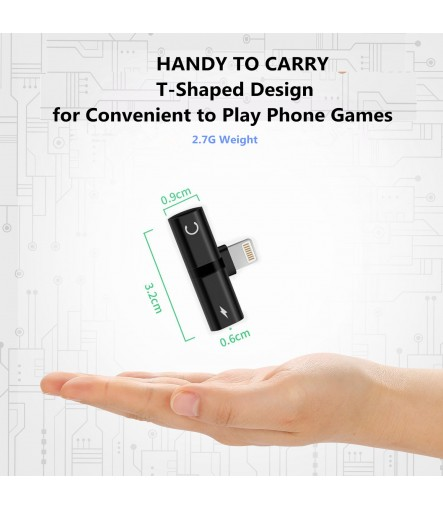 Lightning Splitter Adapter for iPhone, Mini Dual Lightning Headphone Audio & Charge Adapter, Support Calling Function & Music Control