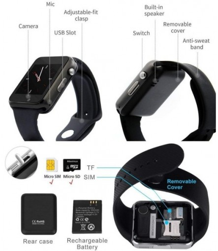 A1 Bluetooth 4G Touch Screen Smart Watch Phones with Camera, SIM Card, SD Card Slot, Multi Language Support Compatible with All Android and iOS Devices