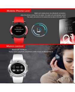 Bluetooth Smart Watch, V8 Round Watch with Camera Sleep Monitor Sports Business Bracelet for Android iOS Support TF SIM Card