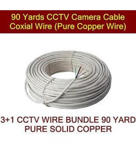 Pure Copper 3+1 Wire 90 Meter for CCTV Camera DVR Installation Cable Coaxial