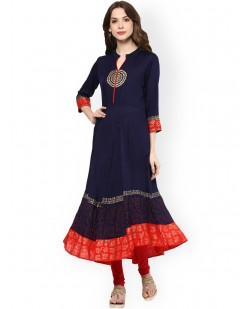 Women Navy & Red Block Print Anarkali Kurta