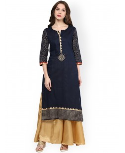 Women Navy Straight Kurta