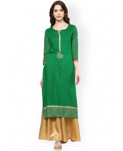 Women Green Straight Kurta
