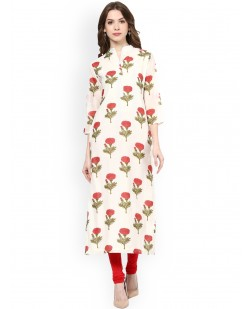 Women Off-White & Red Printed Straight Kurta