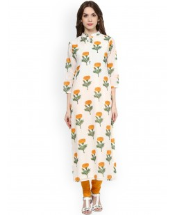 Women Off-White & Yellow Printed Straight Kurta