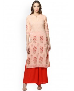 Women Peach-Coloured Block Print Straight Kurta