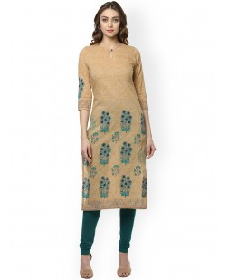 Women Beige Printed Straight Kurta