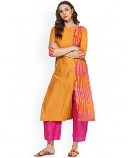 Women Orange Printed Straight Kurta