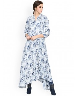 Women Blue Printed A-Line Kurta