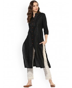 Women Black Solid Straight Kurta
