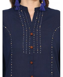 Women Blue Solid Straight Kurta