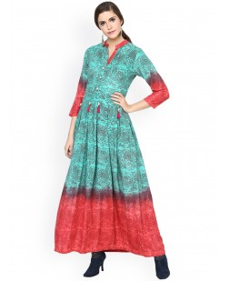 Women Green Printed Anarkali Kurta