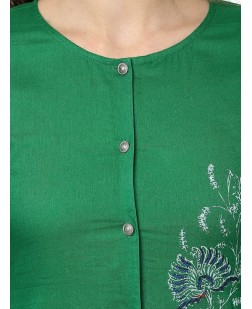 Women Green Hand Block Print Straight Kurta
