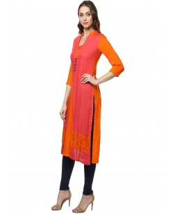 Women Pink & Orange Printed Detail Panelled Straight Kurta