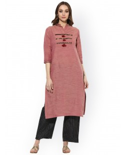 Women Pink Woven Design Straight Kurta