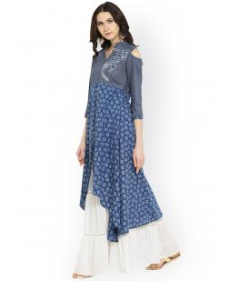Women Blue & White Embroidered Anarkali Kurta