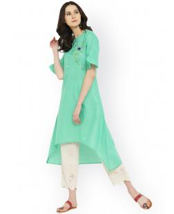 Women Green Embroidered A-Line Kurta