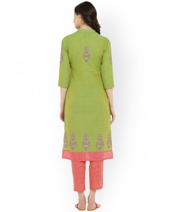 Women Green Printed Straight Kurta