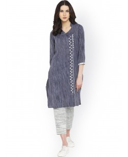 Women Blue & White Woven Design Straight Kurta