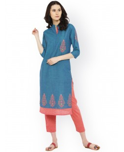 Women Blue Printed Straight Kurta
