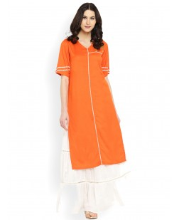 Women Orange Embroidered Straight Kurta