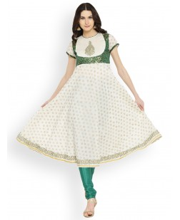 Women Cream-Coloured & Green Printed Anarkali Kurta