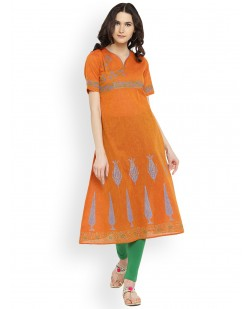 Women Orange Printed A-Line Kurta