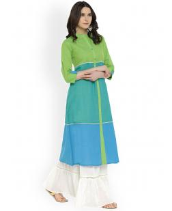 Women Green & Turquoise Blue Colourblocked A-Line Kurta