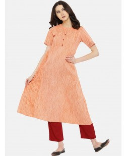 Women Peach-Coloured & Orange Solid A-Line Kurta
