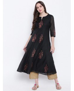 Women Black Printed Anarkali Kurta