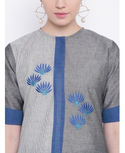Women Grey & Blue Embroidered A-Line Kurta
