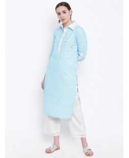 Women Blue Embroidered Straight Kurta