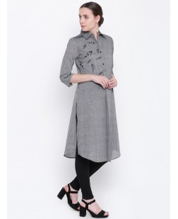 Women Grey Embroidered A-Line Kurta