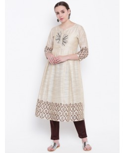 Women Cream-Coloured Embellished A-Line Kurta