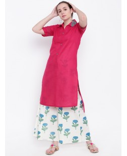 Women Pink Embroidered Straight Kurta