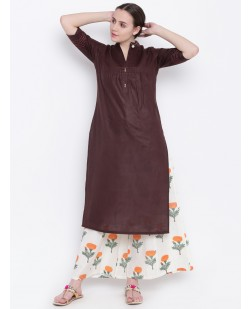 Women Brown Solid A-Line Kurta