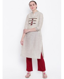 Women Off-White Embellished Straight Kurta