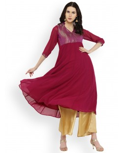 Women Maroon & Purple Yoke Design Anarkali Kurta