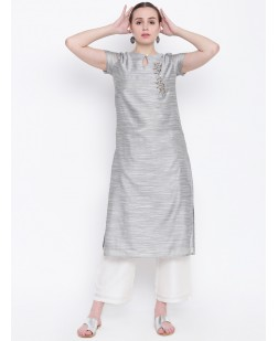 Women Grey Embellished Chanderi Silk Straight Kurta