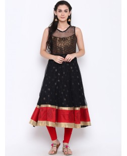 Women Black & Red Embellished Anarkali Kurta