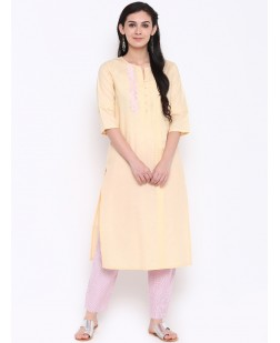 Women Yellow Embroidered Straight Kurta