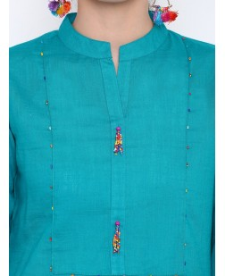 Women Blue Embellished Straight Kurta