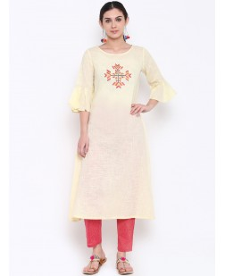 Women Cream-Coloured & Pink Embroidered A-Line Kurta